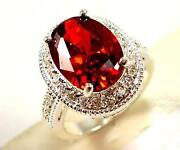 Sterling Silver Garnet Ring Size 8