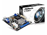 (New) ASRock C70M1 Motherboard with built in dual core CPU, plus 4gb of DDR3 Ram