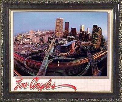 Los Angeles Downtown Skyline Burg Wall Decor Mahogany Framed Art Print Picture