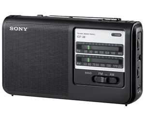 NEW Sony ICF38 Portable AM/FM Radio - Black