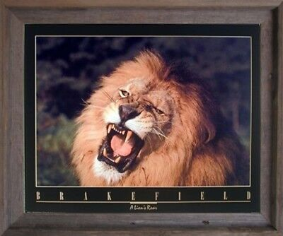 (African Lion King Roar Close-up Wild Animal Wall Decor Barnwood Framed Picture)