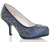 Navy Low Heel Court Shoe