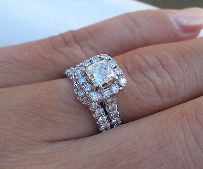 2.50 Ct. Natural Princess Cut Halo Pave Diamond Engagement Bridal Set GIA Cert 1