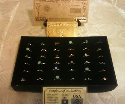 FREE S&H 27Pc.LOT~COLLECTIBLE GOLD$100K Banknote W/COA+25 MIXED RINGS