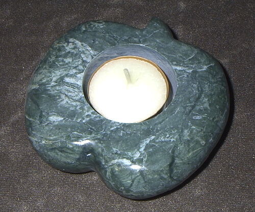 Green Apple Travertine Marble Candle Holder Incense cone burner New 13.2oz Peace
