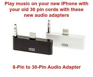 8-Pin to 30-Pin Audio/Sync/Charging Adapter Converter for iPhone