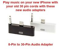 8-Pin to 30-Pin Audio/Charge/Dock Converter for iPhone 5,6 &iPod