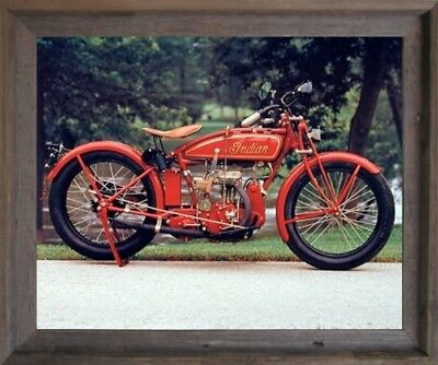 Old Red Indian Classic Vintage Motorcycle Wall Art Decor Barnwood Framed Picture
