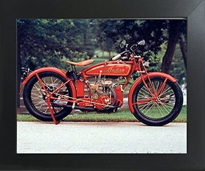 Old Red Indian Classic Vintage Motorcycle Wall Decor Art Print Framed Picture