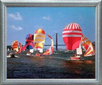 Sailboats Yuschenkoff Ocean Boating Scenic Wall Decor Silver Framed Picture