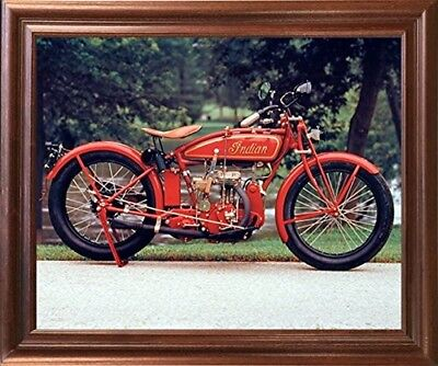 Old Red Indian Classic Vintage Motorcycle Mahogany Framed Wall Art Decor Picture