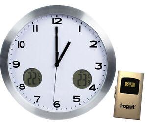 Wanduhr Küchenuhr Funk Thermometer LCD Display Aluminium und Glas Uhr ...