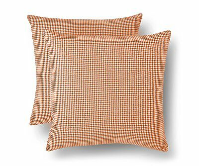 Threshold 2 Pack Coral Orange Decorative Houndstooth Toss Pillows 18