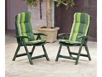 TWO PLASTIC GARDEN CHAIRS WITH CUSHIONS ( £20 each )