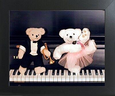 Cute Movie Couples (Cute Teddy Bear Couple on Piano Ron Kimball Wall Decor Art Print Framed)