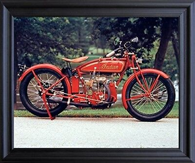 Old Red Indian Classic Vintage Motorcycle Wall Black Framed Picture Art (19x23)