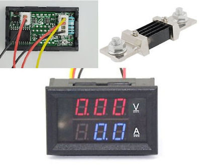 Dc 300v 500a Dual Led Digital Volt Amp Voltage Power Meter 500a75mv Shunt Car