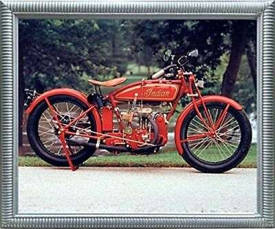 Old Red Indian Classic Vintage Motorcycle Wall Decor Art Silver Framed Picture