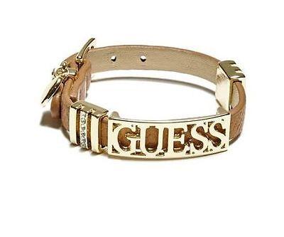 Guess Brown Gold-Tone Logo Friendship Bracelet B C Gold Bracelets