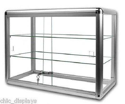 Glass Countertop Display Case Store Fixture Boutique Showcase Key Lock 3 Shelf