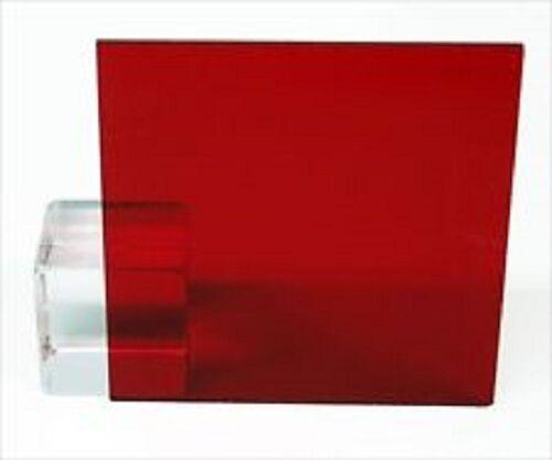 "Red Transparent Acrylic Plexiglass Sheet - 1/8"" x 12"" x 12"" #2423"