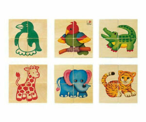 Selecta Wooden Picture Cube Puzzle Blocks - Zoo Babies