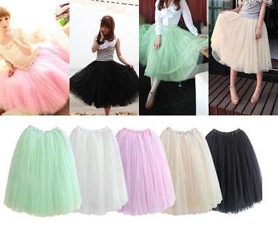 USPS! 2018 Princess Fairy Tulle Skirt 5 Layers Free Size Elastic Skirt -