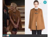 BNWT ZARA NEW HAND MADE CAPE RRP £129 SEEN ON TV CAMEL WOOL PONCHO COAT SIZE M