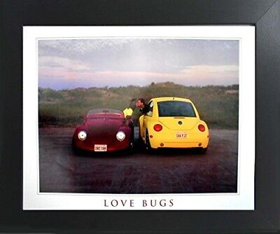 Cute Movie Couples (Volkswagen Love Bug Classic Car Cute Couple Contemporary Black Framed)