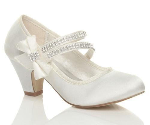 Ivory Flower Girl Shoes With Heel
