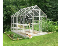 Halls Popular 8' x 6' aluminium greenhouse including base, toughened glass £499 new