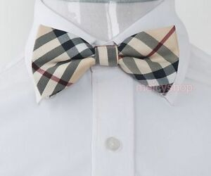 BO17 New Yellow Checkers Plaid Mens Pre-tied Tuxedo Wedding Polyester Bow Tie