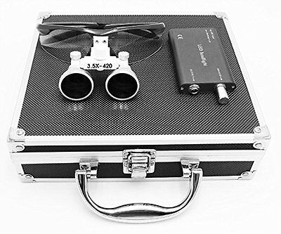 Dental Surgical 3.5x Binocular Loupes1w Led Head Light Lampaluminum Box Black