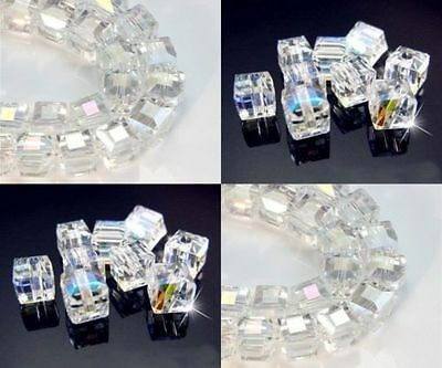 Lot Multicolor new White AB Square Cube Cut Glass Crystal Loose Spacer Beads  - Ab Cube