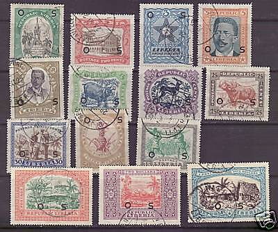 Liberia # O141-54a Complete Set of 1923