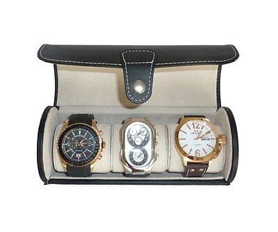 3 WATCH BLACK LEATHERETTE ROLL TRAVEL COLLECTOR ORGANIZER STORAGE CASE MENS GIFT