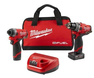 Milwaukee 2598-22 M12 Inflame 2-Tool Hammer Drill and Hex Impact Driver Combo Kit
