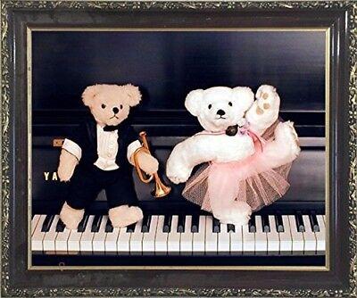 Cute Movie Couples (Cute Teddy Bear Couple on Piano Ron Kimball Wall Decor Mahogany Framed)