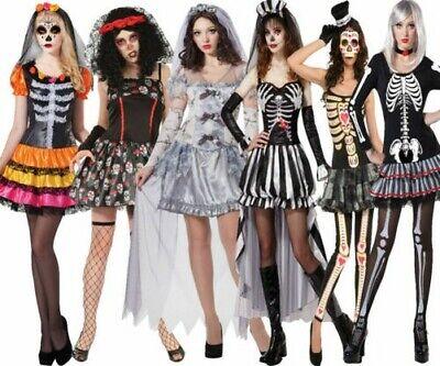 Damen Skelett Halloween Kostüm Ausverkauf Tag der Toten OS