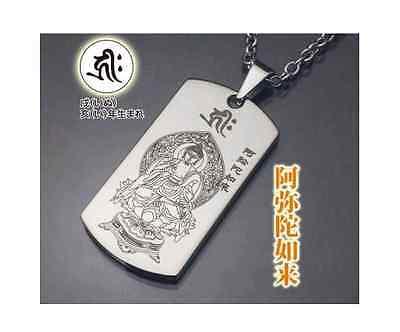 JAPAN TITANIUM/GERMANIUM/OTHER NECKLACE-PENDANT HEART SUTRA BUDDHA AMULET DOG