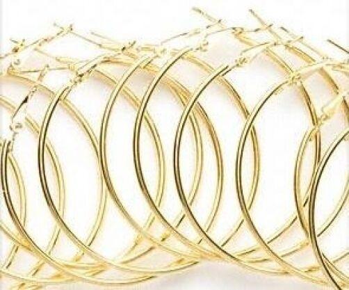 Wholesale 50mm Steel Glowing Gold Hoop Earrings 6