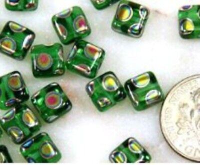 Preciosa Square Tile Beads, 6x6mm, Green w/Peacock Finish, Czech Beads, 20 Pcs (6 Mm Square Green)