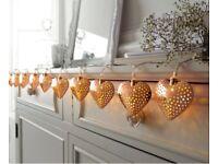 String of 10 rose gold heart lights