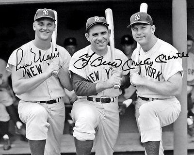 Mantle Maris Berra Autographed Repro Photo 8X10 - New York Yankees Bronx