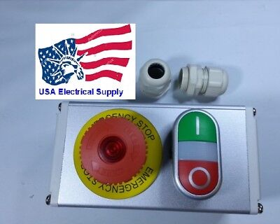 Metal Push Button Switch Station Emergency Start Stop Light 1224vac-dc