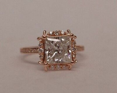 2.37 Ct Near White Princess Moissanite Engagement Wedding Ring 14K Rose Gold