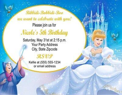 Cinderella Princess Birthday Party Invitations Personalized Custom - Cinderella Birthday Invitations