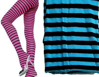 NEW STRIPED TIGHTS NEON PINK BLUE ORANGE COSTUME DANCE ROLLER DERBY  FAST POST (Neon Blue Tights)