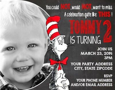 Cat in the Hat Dr Seuss Your Photo Birthday Party Invitations Personalized (Cat In The Hat Invitations)