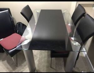 Glass Dining Table w/ Leather Chairs